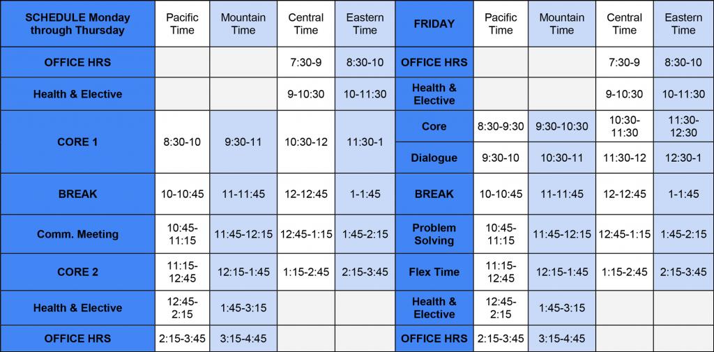 Bridgemont Weekly Schedule